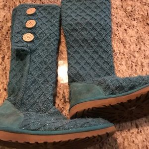 Teal Shimmer UGG Knit Cardy Boots
